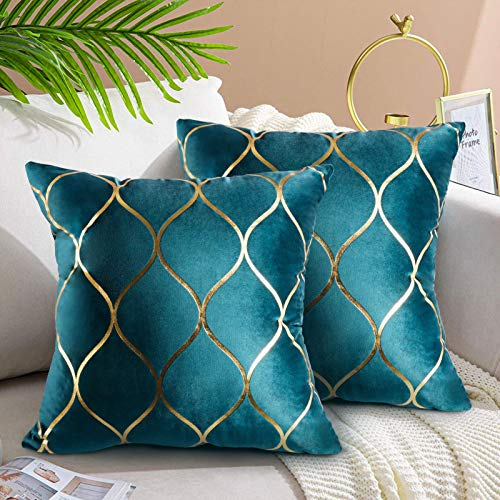 Hanrunsi Velvet Cushion Covers 45cmx45cm Set of 2 Teal Soft Solid Decorative Couch Cushions 45x45 Velvet Throw Pillow Covers for Sofa Couch Living Room Bedroom