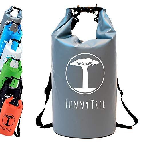Funny Tree® Drybag. (20L grau) Wasserdichter (IPx6), verbesserter DryBag, schwimmfähig. Inklusive wasserdichter Handy-Hülle   Stand Up Paddle   Wassersport   Ski-Fahren   Snow-Boarden   Tauchen