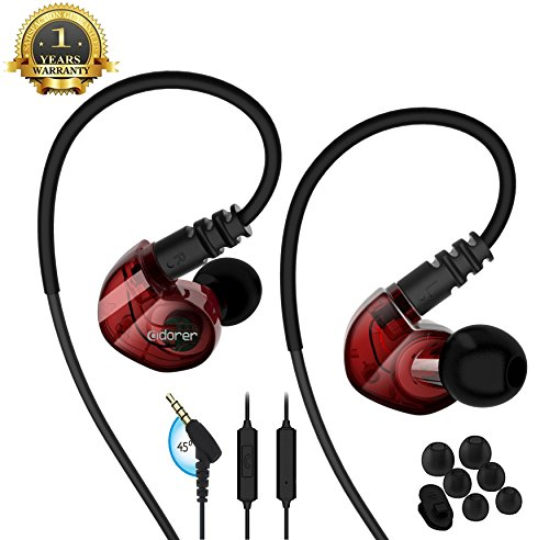 Running Sport Earphones Over Ear Buds with Microphone Remote Noise Cancelling Earhook Headphones Sweatproof in Ear Earphones for Gym Jogging Workout Exercise (Red)