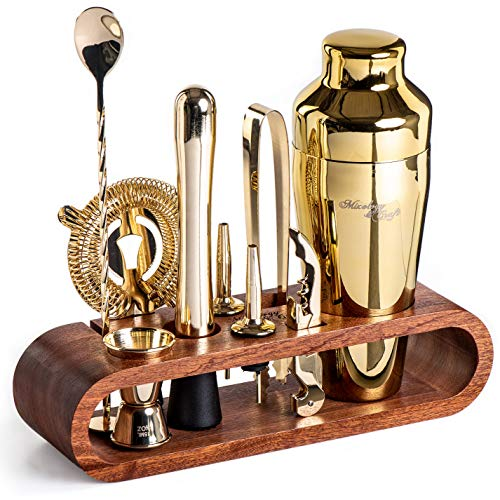 Mixology Bartender Kit: 10-Piece Bar Set Cocktail Shaker Set with Stylish Mahogany Stand | Perfect Home Bartending Kit with Bar Tools and Martini Shaker for Foolproof Drink Mixing (Gold)