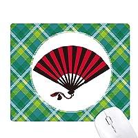 日本の赤黒のファン 緑の格子のピクセルゴムのマウスパッド