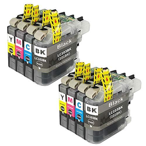 SXCD LC103 (LC101) Cartucho de Tinta para su Hermano, reemplazo para DCP-J152W MFC-J245 J285DW J450DW J470DW J475DW J6520DW J870DW J875DW Primer PRUSTER (4 Color) Combination x 2