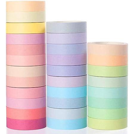 YUBX Washi Tape, 30 Rouleaux Masking Tape Pastel 10mm de Large Ruban Adhésif Décoratif, Japonais en Washi, Ruban Adhésif en Washi pour Journal, Ruban Adhésif Décoratif pour Artisanat (Macaron)