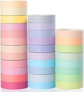 YUBX Washi Tape, 30 Rouleaux Masking Tape Pastel 10mm de Large Ruban Adhésif Décoratif, Japonais en Washi, Ruban Adhésif e...