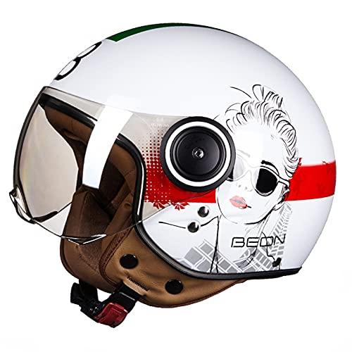 MOMOJA Casco Jet De Motocicleta con Gafas Casco Retro De Piloto Casco con Ruedas Casco Medio Abierto De Motocicleta De Aspecto Vintage, Calidad De Acuerdo con Los Estándares ECE F,M(54-56cm)