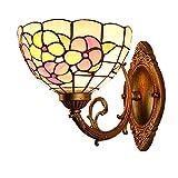 ZMLG Lampada Da Parete Rustica Tiffany E27, LED Stile Mediterraneo Applique Da Parete Paralume in Vetro Floreale Colorato Illuminazione Da Parete Pastorale Per Bagno Scale Balcone Corridoio