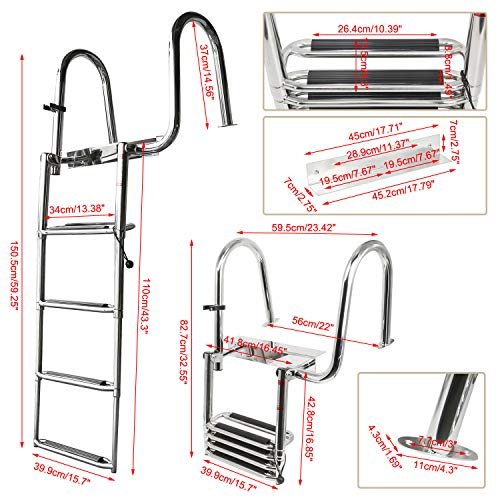 Amarine Made 4 Steps Removable Premium Stainless Folding Rear Entry Pontoon Boat Ladder w/Extra Wide Step-Right