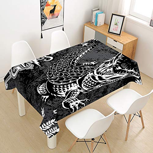 Oduo Tablecloth Waterproof Polyester Rectangle, Animal Print Home Decoration Stain Resistant Dust-proof Wipe Clean Wrinkle Resistant for Parties Dining Tables (crocodile,140x260cm)