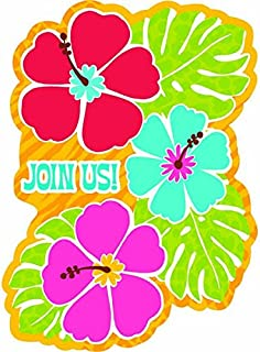 Amscan Bright Hibiscus Party Invitation Cards, 6.25