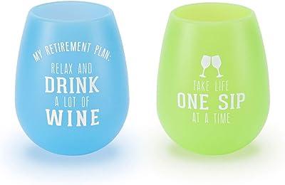 Pavilion Gift Company Silicone Wine Glass, Multicolored