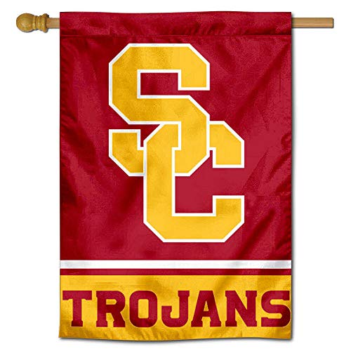 College Flags & Banners Co. USC Trojans SC Logo Two Sided and Double Sided House Flag