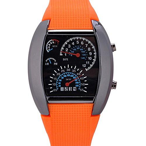Unisex Reloj de los Deportes Reloj de Estilo LED Digital Reloj de Pulsera Reloj Fresco único Reloj de Moda Reloj (Orange)