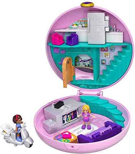 Polly Pocket GDK82 Pyjamaparty Schatulle Donut Wohnzimmer mit Polly und Shani, Mädchen Spielzeug ab 4 Jahren