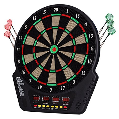 SportVida Dartscheibe Elektronisch mit Pfeilen/Flight Dartboard Set für Kinder | Profi Dartspiel mit 4 LED-Displays | Soundeffekte