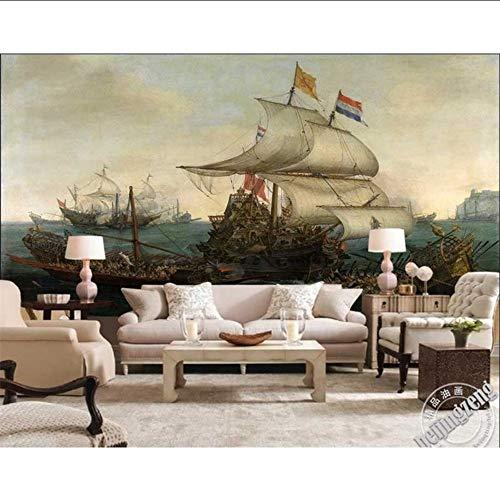 Qwerlp 3D Wallpaper High-End-Benutzerdefinierte Wandbilder Vlies Wandaufkleber Spanische Kriegsschiff Schlug Holländisches Schiff Malerei 3D Wand Zimmer Wandbild Tapete-150Cmx120Cm