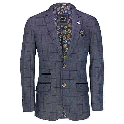 Xposed Herren Classic Window Pane Check Anzug Jacke Retro Tailored Fit Tweed Blazer in Eiche Tan Navy Blue Gr. 52, blau