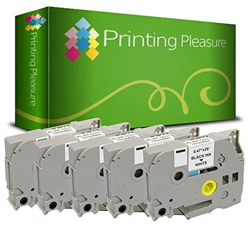 Printing Pleasure 5 x TZe-231 TZ-231 Nero su Bianco Nastro laminato compatibile per BrotherP-Touch Stampanti per etichette | 12mm x 8m