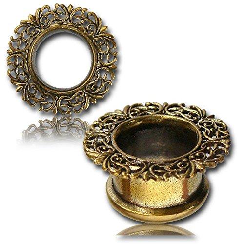 Chic-Net Brass Túnel Italia Diseño de filigrana de oro corona de níquel de cobre amarillo libre de enchufe Orgánica Piercing Expander 10 mm