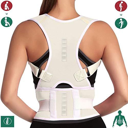 10 Magnets Back Braces for Back Pain - Best Fully Adjustable Posture Corrector for Men & Women - Improves Posture and 2 Steel Bone Provides Lumbar Support (Beige, X-Large)