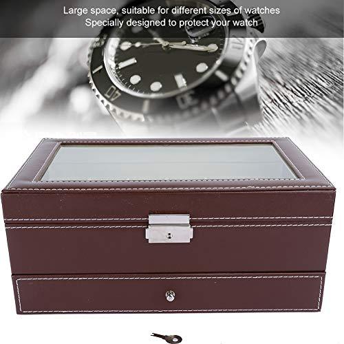 Tenedor de reloj de la joyería, caja de reloj de madera del organizador de la exhibición del caso del reloj del espacio grande, para los anillos del reloj