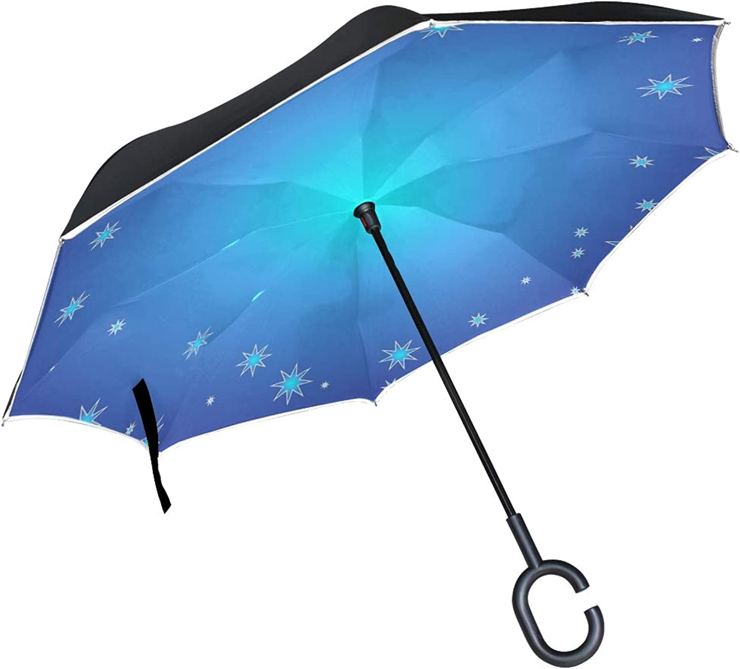 Double Layer Ingreened blueee Christmas Cold color Decoration Umbrellas Reverse Folding Umbrella Windproof Uv Predection Big Straight Umbrella for Car Rain Outdoor with CShaped Handle
