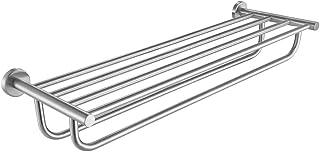 JQK Bathroom Towel Rack, Towel Shelf with 24 Inch Double Bar, Rustproof 304 Stainless Steel Wall Mount Holder, Brushed, TR...