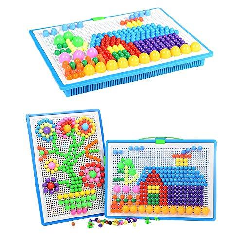 Upworld 296 pcs Mushroom Nails Pegboard Educational Colourful Jigsaw Puzzle...