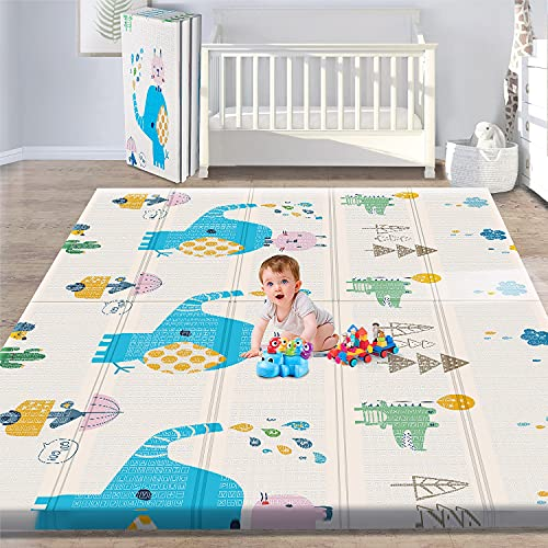 Gimars XL BPA Free 0.4 in Reversible Foldable Baby Play Mat, Waterproof Thick Foam Floor Baby Crawling Mat, Portable Baby Playmat for Infants, Toddler, Kids, Indoor Outdoor Use (79 x71x0.4inch)