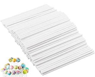400PCS 6Inch White Treat Lollipop Sticks,Paper Sucker Stick for Candy Melt,Dessert,Cake Pops,Chocolate and Cookie(3.5mm)