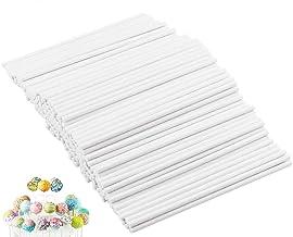 400PCS 6Inch White Treat Lollipop Sticks,Paper Sucker Stick for Candy Melt,Dessert,Cake Pops,Chocolate and Cookie(3.5mm)