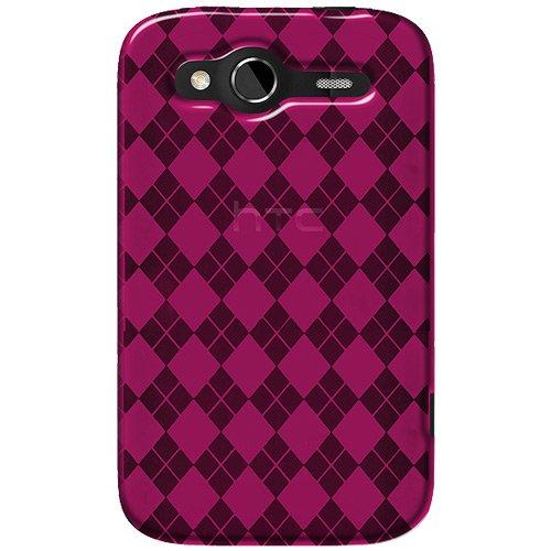 Amzer Luxe Argyle - Carcasa blanda para HTC Wildfire S, color rosa