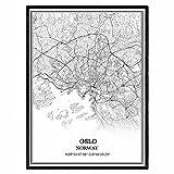 Oslo Norwegen Karte Wandkunst Leinwand drucken Poster