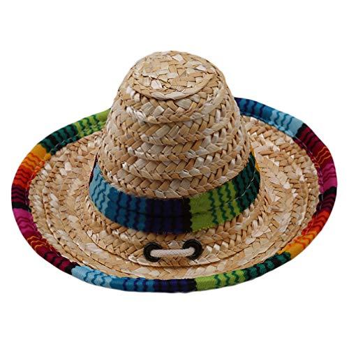 LJSLYJ Verstellbarer Mini Strohhalm Sombrero Mexikanischer Hut Haustier Hund Katze Sonnenhut
