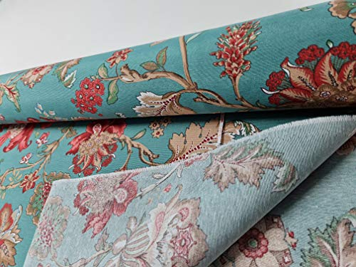 Loneta estampada Flores Turquesa [Bonita loneta por metros para tapizar sofás o cortinas]{100CMx280CM}