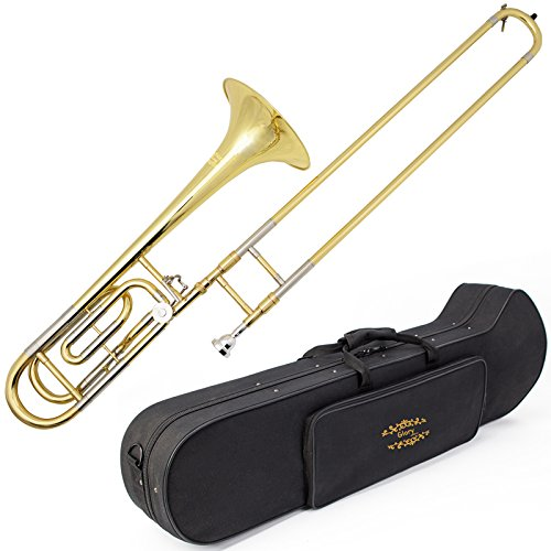 Glory High Grade Bb/F Key Intermediate TENOR Trombone with Case and 61/2Mouthpiece, Gold Finish, Click to see more choice
