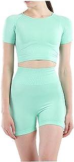 Vrouwen Yoga Suit Kleren van de Training Set Gym trainingspak Naadloze Sportswear korte mouwen Top Shorts Green S 2 stuks