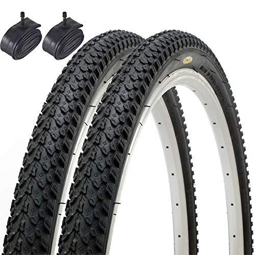 Fincci Par Híbrida Neumáticos de Bicicleta de Montaña Cubiertas 26 x 2,125 y Schrader Tubos Interiores