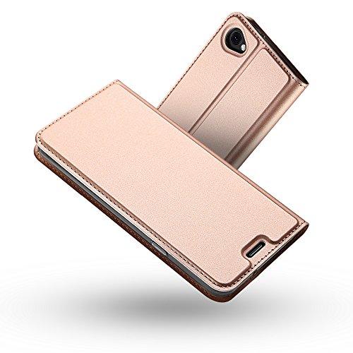 Radoo LG Q6 Hülle,LG Q6 Leder Schutzhülle, Premium PU Leder Handyhülle Brieftasche-Stil Magnetisch Klapphülle Etui Brieftasche Hülle Schutzhülle Tasche für LG Q6 (Rose Gold)