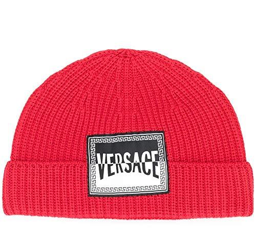 Versace - Gorro de punto con el logotipo de Beanie rojo geranio para hombre