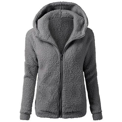 SHOBDW Mujeres de Invierno de Lana cálida Cremallera Abrigo con Capucha suéter Abrigo de algodón Outwear (Gris A, S)