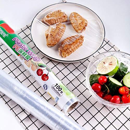 Bakken Keuken Eten Plastic Folie,Te Verwarmen En Te Koelen Plastic Wrap Broodje Eten,Sterke Adsorptie,Speciaal for Industriële Verpakkingen (30cm x 30m)