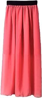 Mogogo Womens High Waisted Long Maxi Solid Color Chiffon Beach Summer Skirt