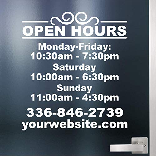 Custom Business Hours Sign for Glass Door, Windows. Hours of Operation Sign. Open - Closed Store Hours Sign. Includes Phone Number and Website or email. Style #6 by Jeyfel Decals