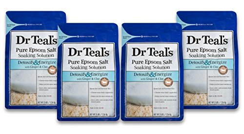 Dr Teal's Epsom Salt Soaking Solution, Detoxify & Energize, Ginger & Clay, 4 Count - 3lb Bags, 12lbs Total