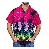 KAKAYO Botón de Camisa de los Hombres del Cortocircuito de la Playa de impresión rápida en seco de la Manga de la Blusa Superior M-3XL Cuatro Colores Camisa (Color : Hot Pink, Size : XL.)