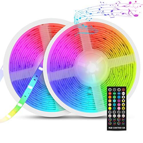 Tiras LED para TV, Fansteck Tira LED Música RGB 5050, Retroiluminacion LED de TV, Led Strip Multicolor 10M con 300 Leds 12V, 40 Botones Control Remoto, Impermeable IP65, para Habitación, Bar, Cocina