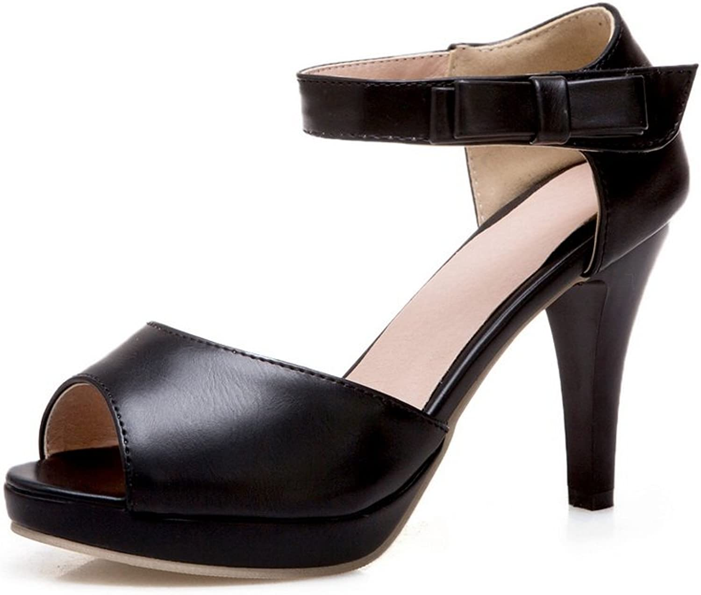 BalaMasa Womens Hook-and-Loop Spikes Stilettos Peep-Toe Black Urethane Pumps shoes ASL04228-7 B(M) US