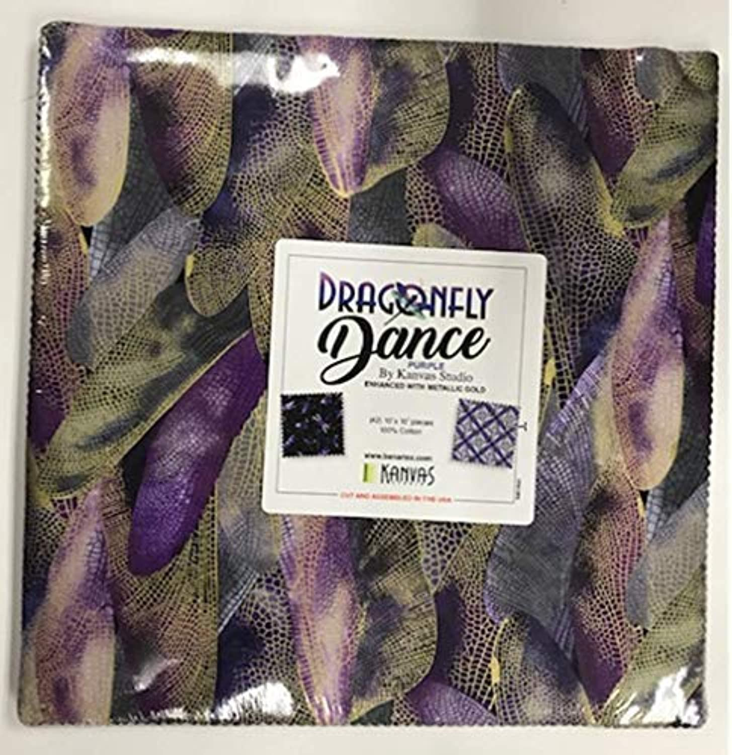 Dragonfly Dance Purple 10-inch Precut Squares Cotton Fabric Quilting Assortment Layer Cake by Kanvas Studio for Benartex