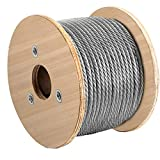VEVOR Galvanized Steel Cable, 3/8'' Aircraft Cable, 249ft Galvanized Cable 7x19 Construction Steel Wire Cable w/Cable Clamps, 14080lb Breaking Strength for Railing Decking, Lifting, Hanging, Fencing