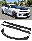 Replacement For 2016-Present Chevrolet Camaro SS | ZL1 Style Front Bumper Lip Splitter With Side Skirts Rocker Panel Pair (ABS Plastic - Primer Black)